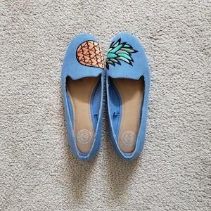 SO Shoes - Pineapple Pale Blue Flats